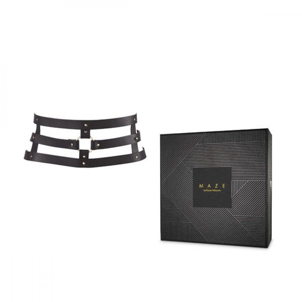 Одежда для БДСМ - Портупея Bijoux Indiscrets MAZE - Wide Belt and Restraints Black 1