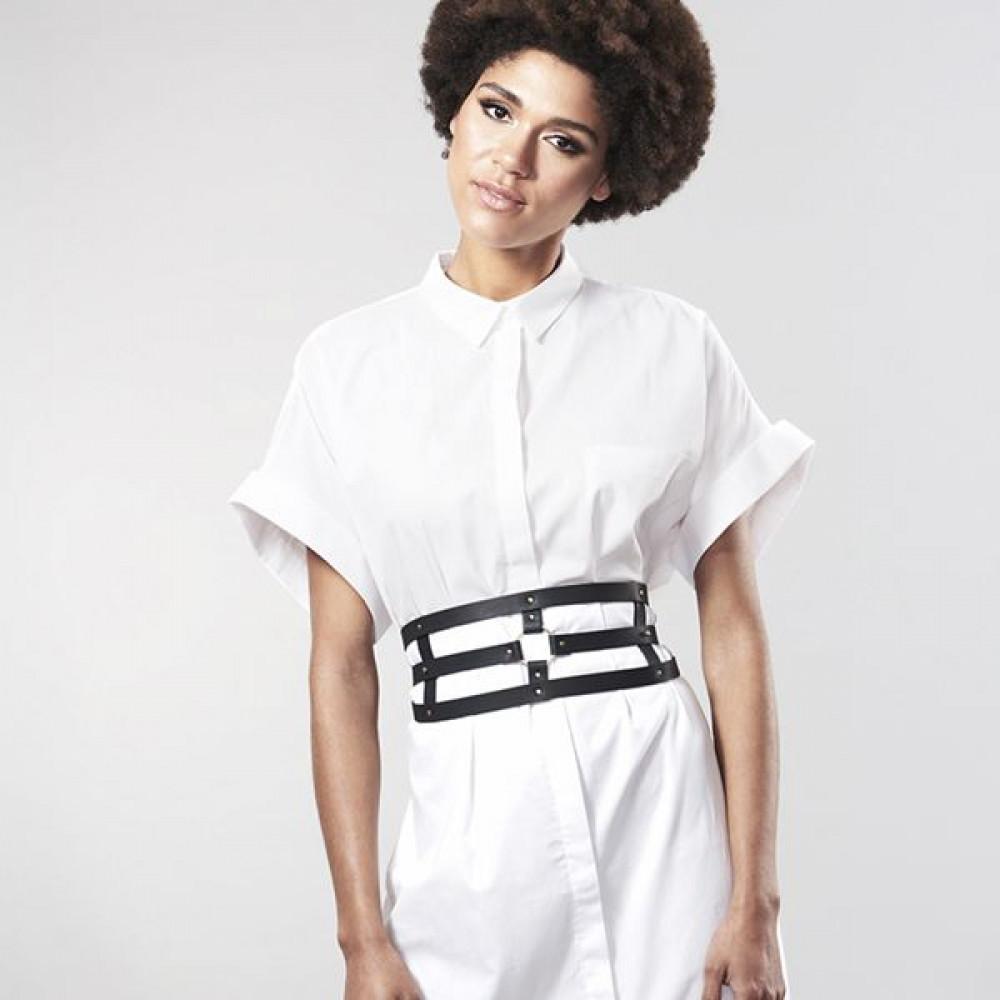 Одежда для БДСМ - Портупея Bijoux Indiscrets MAZE - Wide Belt and Restraints Black 6