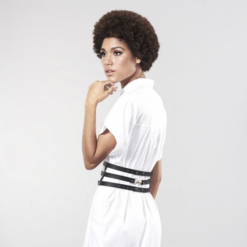 Одежда для БДСМ - Портупея Bijoux Indiscrets MAZE - Wide Belt and Restraints Black 8
