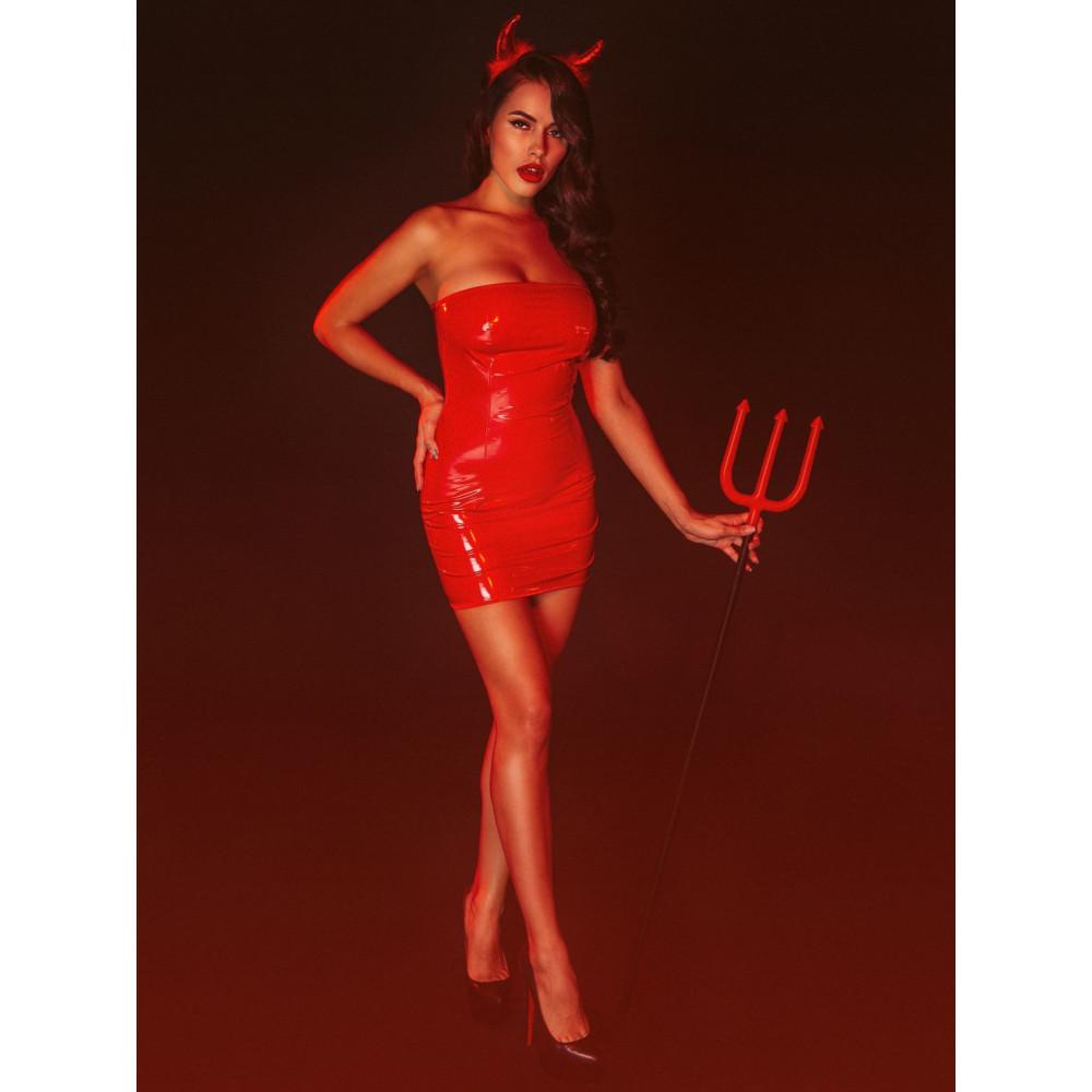 """Эротические костюмы - Платье лакированное красное """"Соблазнительница Марго"""" L, молния на всю длину сзади 2"""