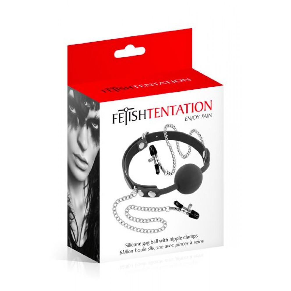 Кляп - Кляп с силиконовым шариком и зажимами для сосков Fetish Tentation Gag Ball with Nipple Clamps 1