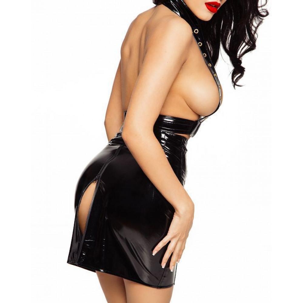 Эротические костюмы - Лакированная юбка со шнуровкой, размер L 3