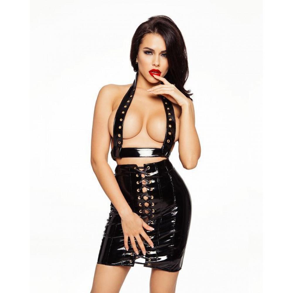 Эротические костюмы - Лакированная юбка со шнуровкой, размер L