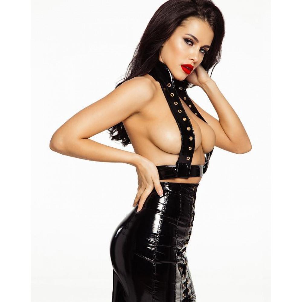 Эротические костюмы - Лакированная юбка со шнуровкой, размер L 1