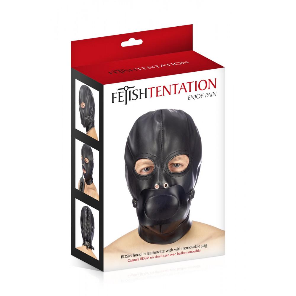 Маска для БДСМ - Капюшон с кляпом для БДСМ Fetish Tentation BDSM hood in leatherette with removable gag 2