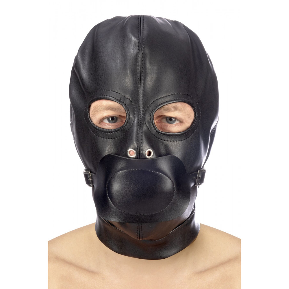 Маска для БДСМ - Капюшон с кляпом для БДСМ Fetish Tentation BDSM hood in leatherette with removable gag
