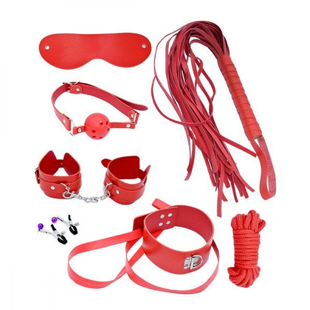 Наборы для БДСМ - Набор MAI BDSM STARTER KIT Nº 75: плеть, кляп, наручники, маска, ошейник с поводком, веревка, зажимы