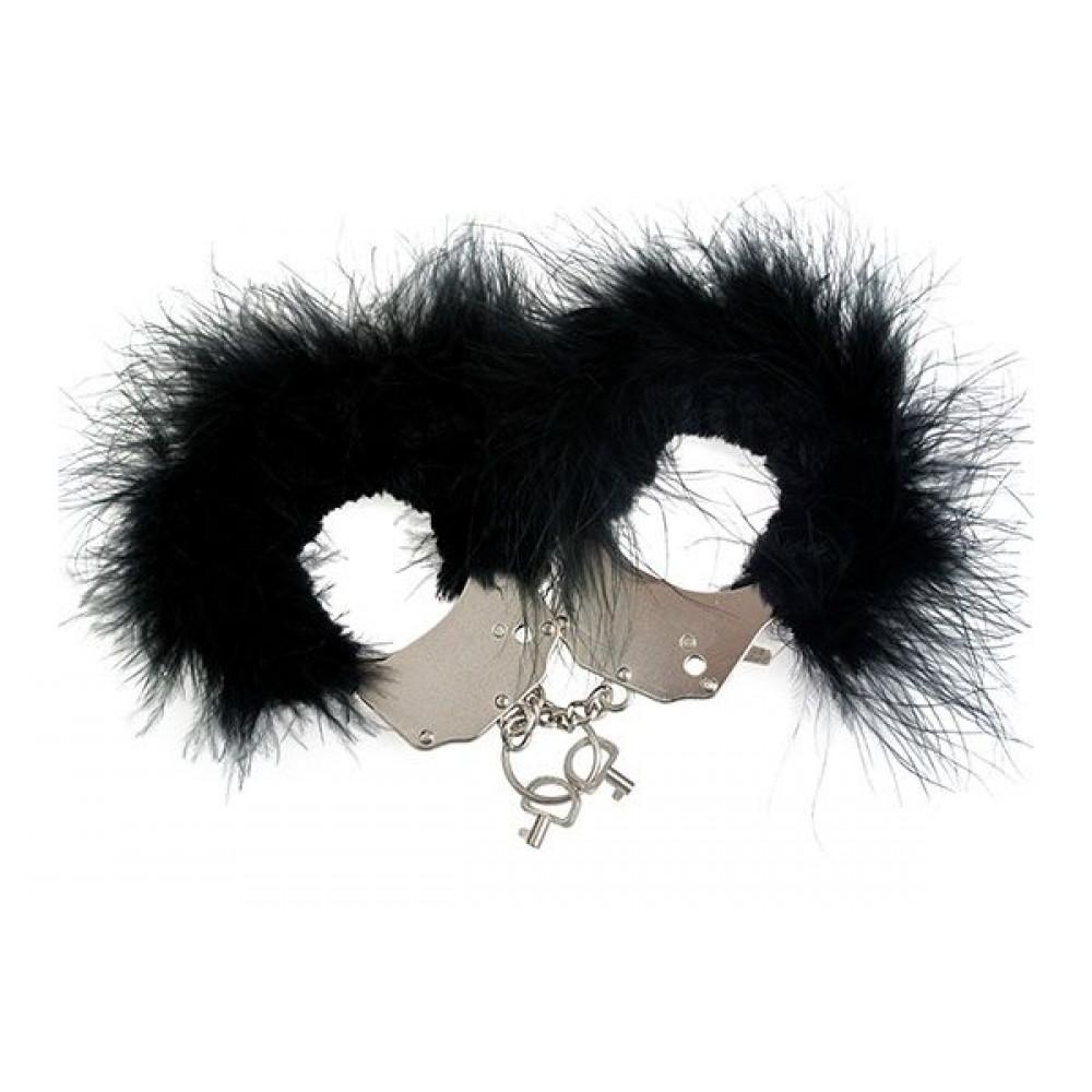 БДСМ наручники - Наручники металлические с черной отделкой Adrien Lastic Handcuffs Black