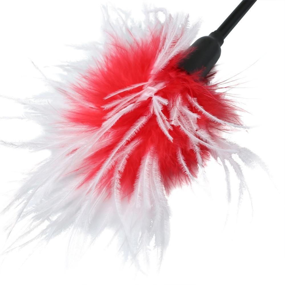 БДСМ плети, шлепалки, метелочки - Метелочка Sex And Mischief - Whip & Tickle Red/White 2