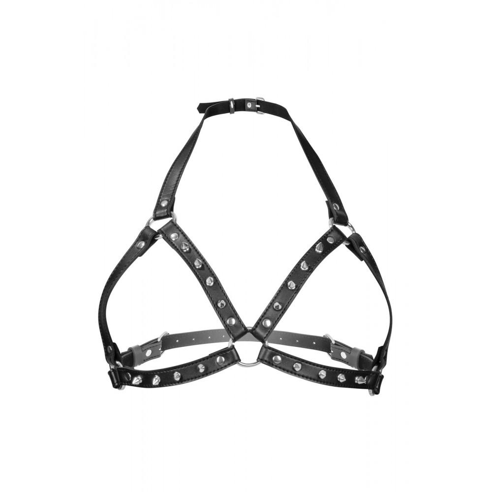 БДСМ аксессуары - Портупея с металлическими шипами Fetish Tentation Sexy Adjustable Chest Harness