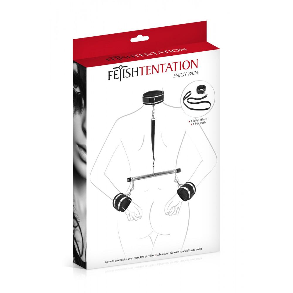 БДСМ наручники - Фиксатор для рук и шеи с поводком Fetish Tentation Submission bar with handcuffs and collar 2