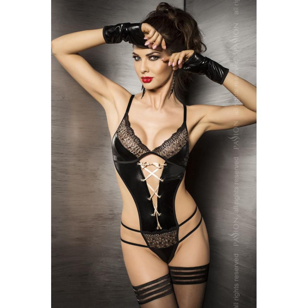 Эротическое боди - Боди комбинезон из атласной ткани, тигрово черный S/M