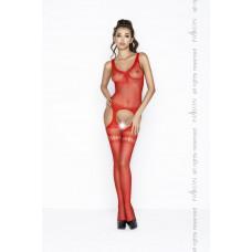 Чулок на тело с ажурным декором, красный