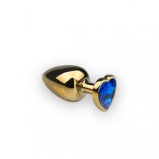 Анальная пробка из металла Сердце-Сапфир, M, золотистая