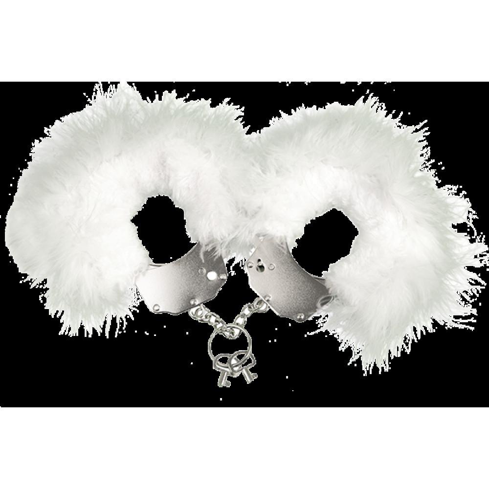 БДСМ наручники - (мятая упаковка) Наручники металлические с белой отделкой Adrien Lastic Handcuffs White