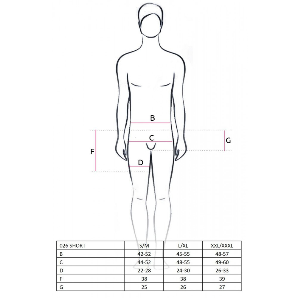Стринги, трусы и шорты - 026 SHORT black S/M - Passion 1