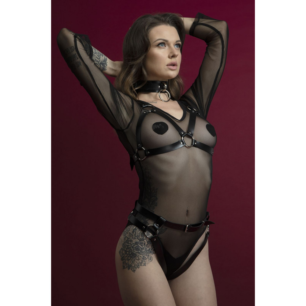 Одежда для БДСМ - Лиф Feral Fillings - Harness Bra черный 2