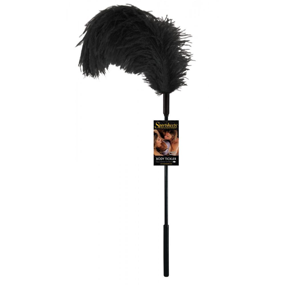 БДСМ плети, шлепалки, метелочки - Щекоталка с пером страуса Sportsheets Ostrich Tickler Черная 1