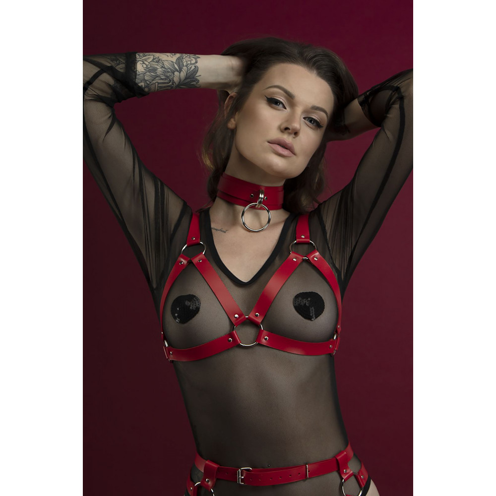 Одежда для БДСМ - Лиф Feral Fillings - Harness Bra красный