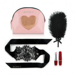 Романтический набор аксессуаров Rianne S: Kit d'Amour: вибропуля, перышко, маска, чехол-косметичка Pink/Gold
