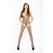 Костюм-сетка с открытой грудью, черный