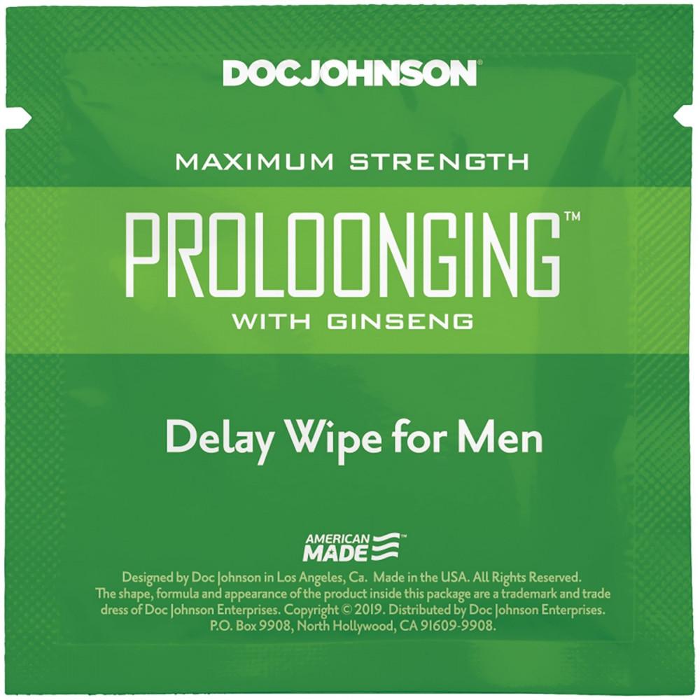 Стимулирующие средства и пролонгаторы - Пролонгирующая салфетка Doc Johnson Delay Wipe For Men с экстрактом женьшеня