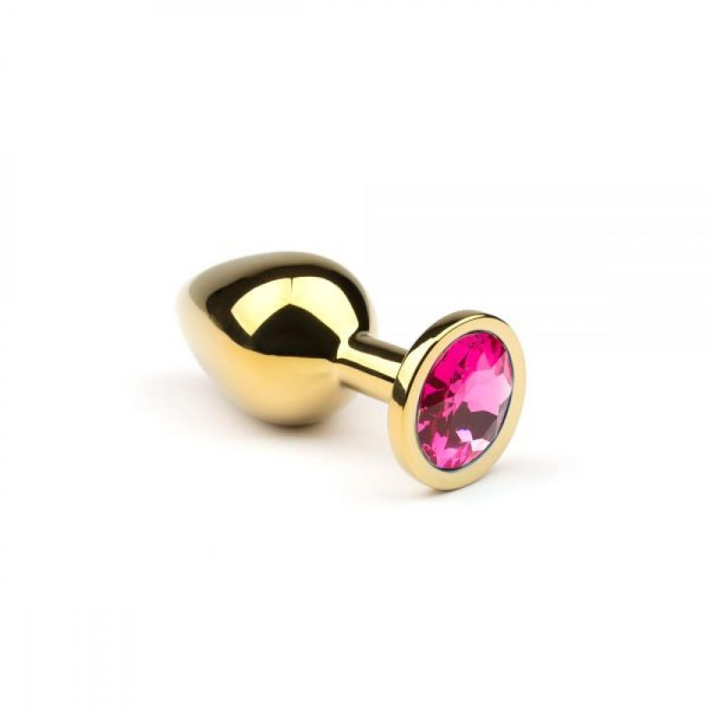 Анальные игрушки - Металлическая анальная пробка  Gold Pink-Rhodolite sLash