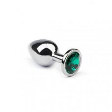 Металлическая анальная пробка  Silver Emerald sLash