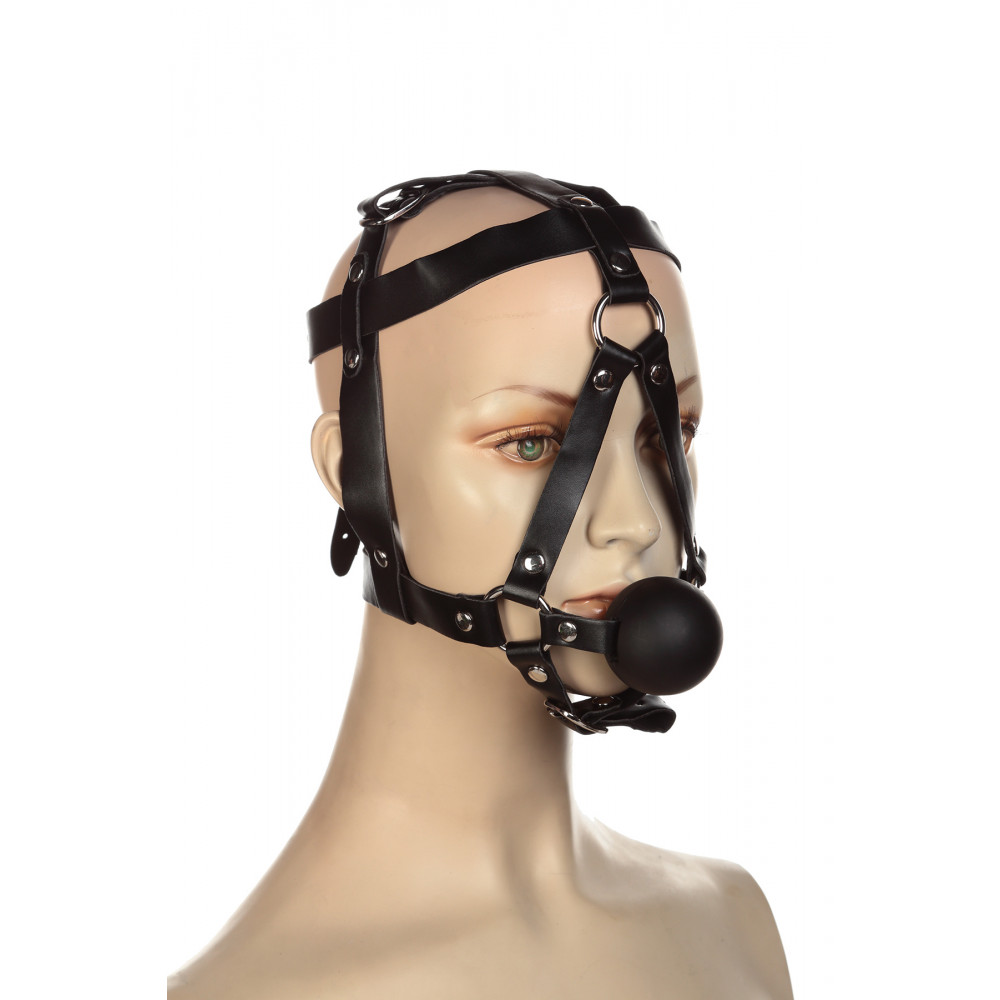Кляп - Сбруя на голову с кляпом шариком