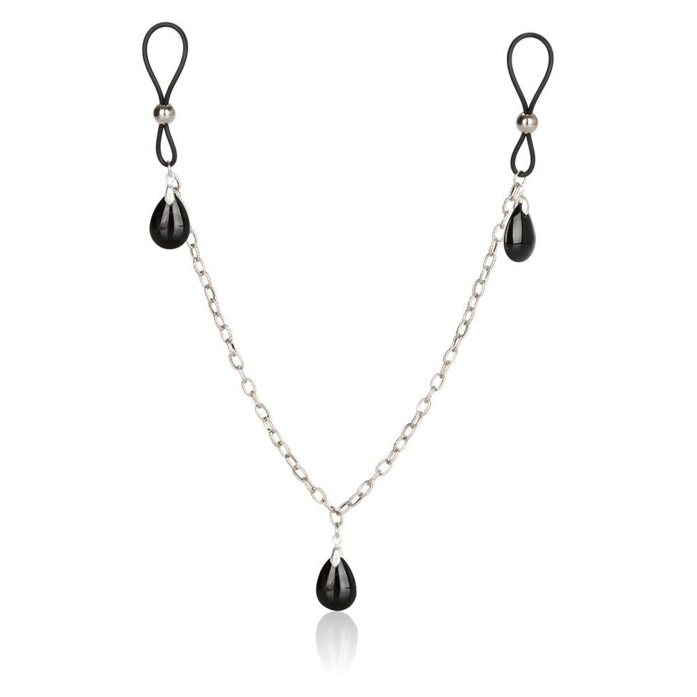 БДСМ аксессуары - Украшение на соски Nonpiercing Nipple Chain Jewelry, оникс