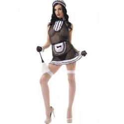 Костюм горничной платье сетка с узором LeFrivole M/L