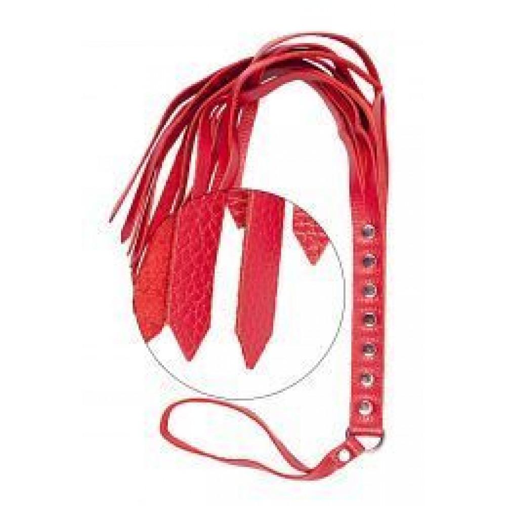 БДСМ плети, шлепалки, метелочки - Флогер S&M Fancy Leather Floger, RED