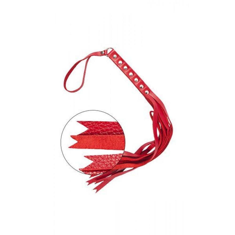 БДСМ плети, шлепалки, метелочки - Флогер S&M Fancy Leather Floger, RED 2
