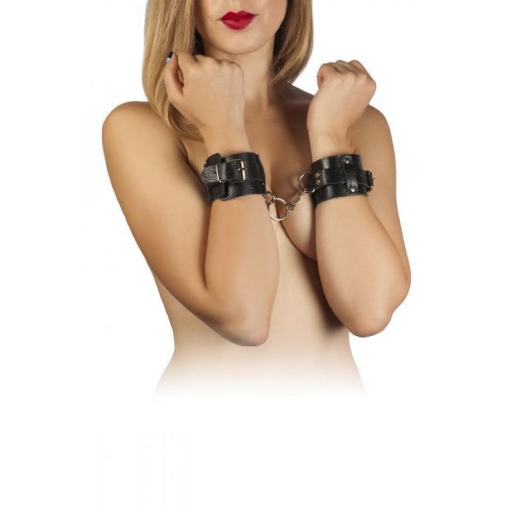 БДСМ наручники - Наручники Leather Dominant Hand Cuffs, BLACK