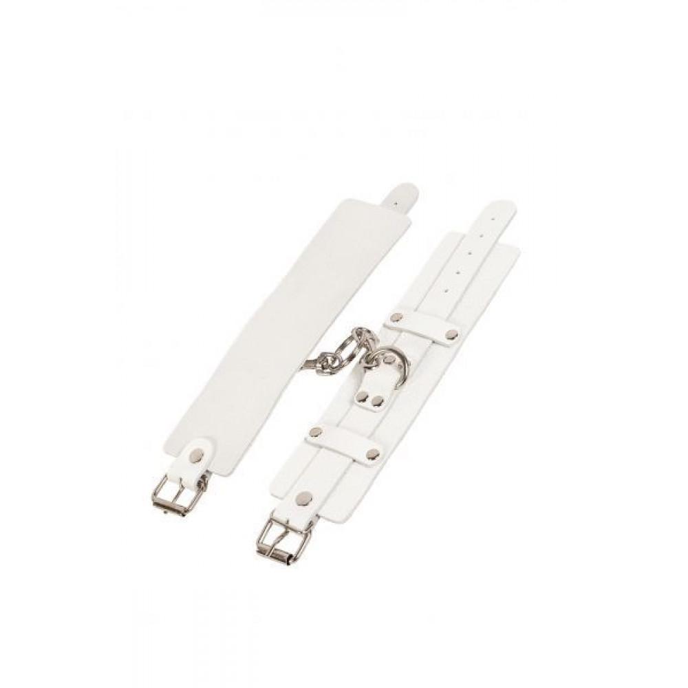БДСМ наручники - Наручники Leather Dominant Hand Cuffs, WHITE 2