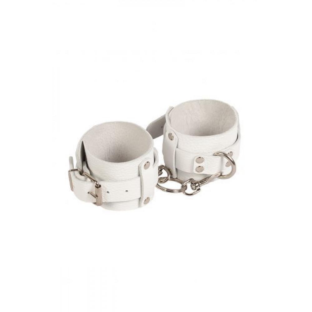 БДСМ наручники - Наручники Leather Dominant Hand Cuffs, WHITE 1