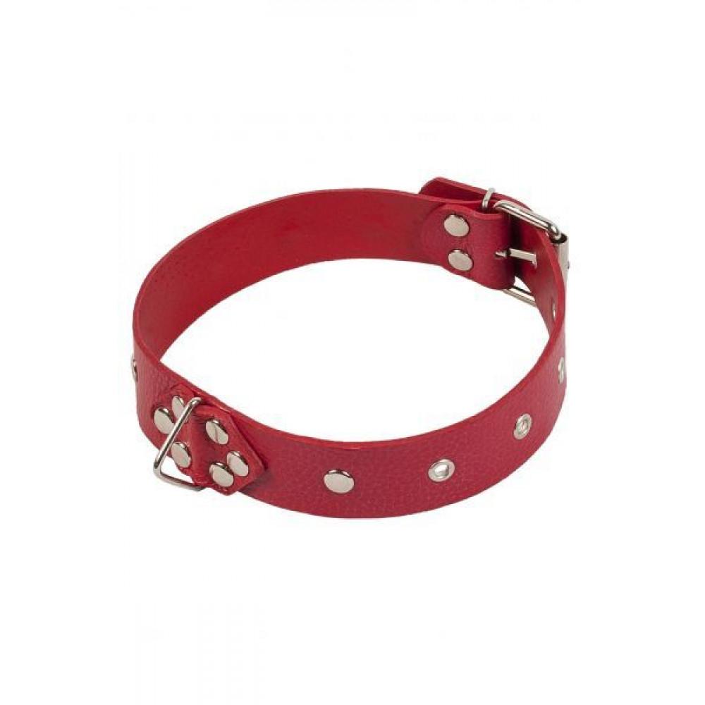 БДСМ ошейники - Ошейник Leather Restraints Collar, RED 1