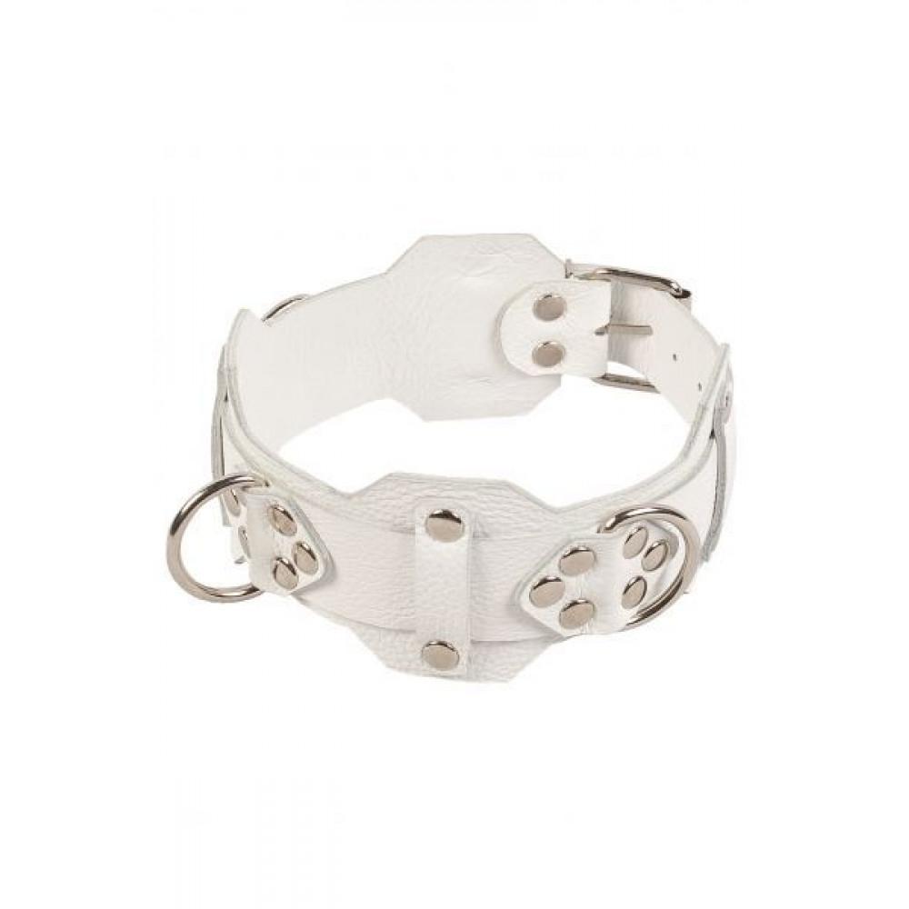 БДСМ ошейники - Ошейник VIP Leather Collar, WHITE 1