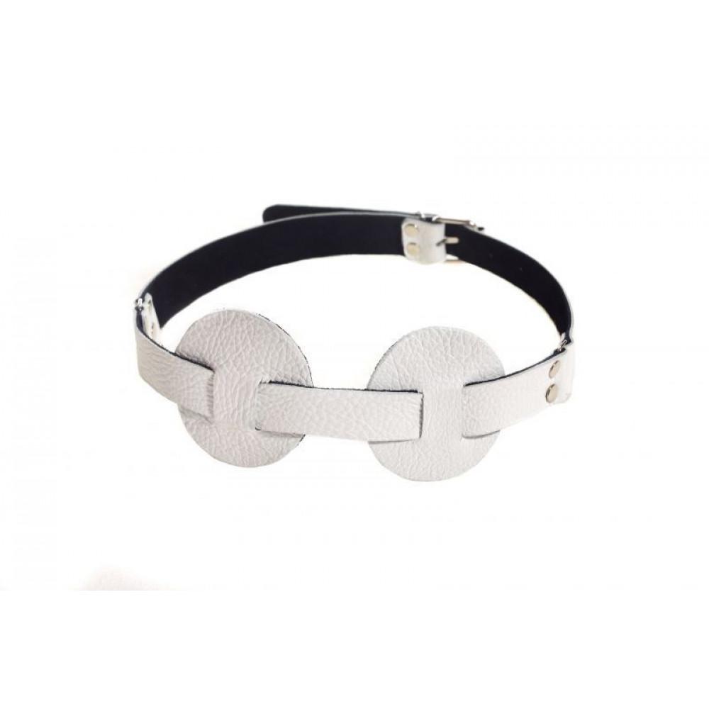 Маска для БДСМ - Маска SUB leather mask, WHITE