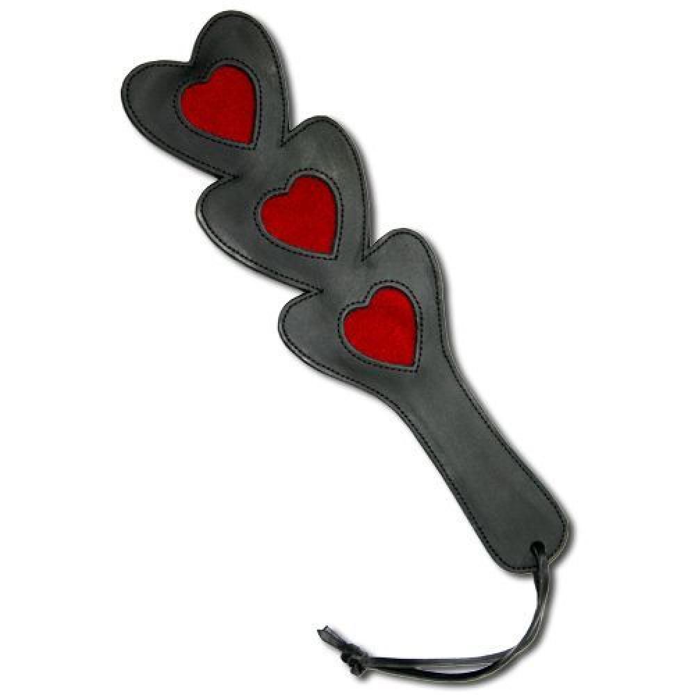 БДСМ плети, шлепалки, метелочки - Шлепалка тройное сердце