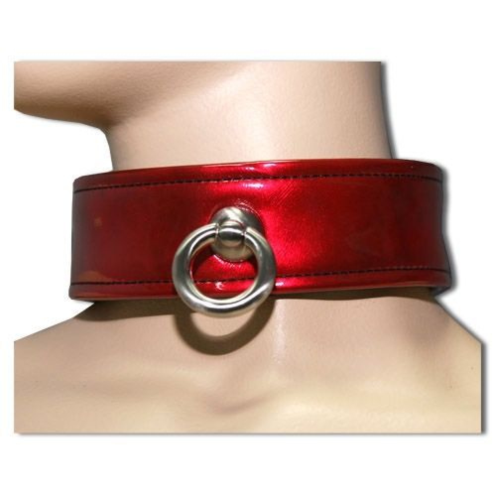 БДСМ ошейники - Ошейник красный лаковый с кольцом