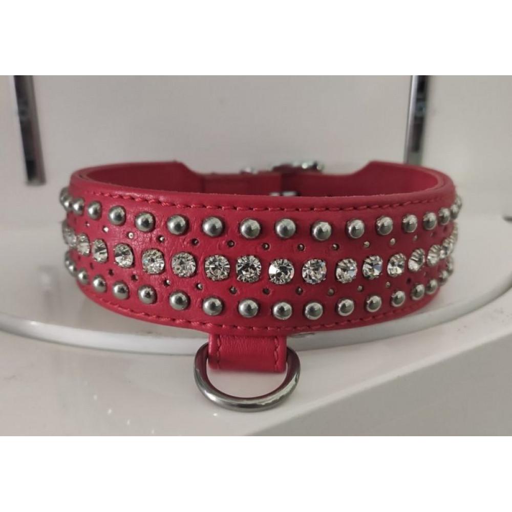 БДСМ ошейники - Ошейник Leather Rivet & Crystal, Red