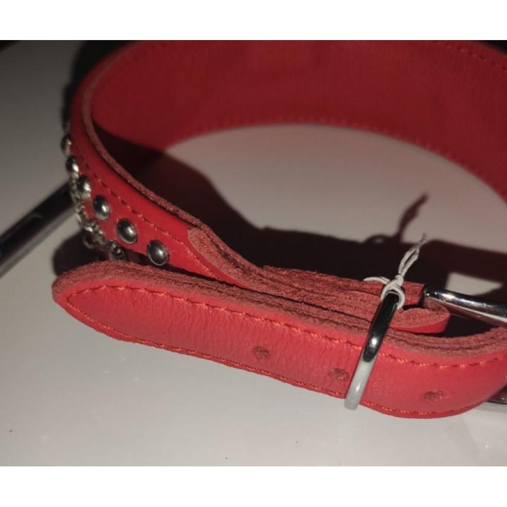 БДСМ ошейники - Ошейник Leather Rivet & Crystal, Red 1