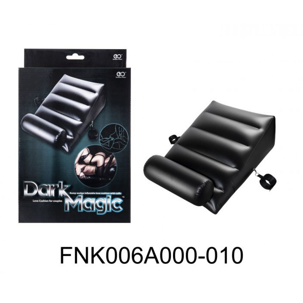 БДСМ аксессуары - Подушка для секса с 2 съемными манжетами DARK MAGIC RAMP WEDGE INFLATABLE CUSHION 5