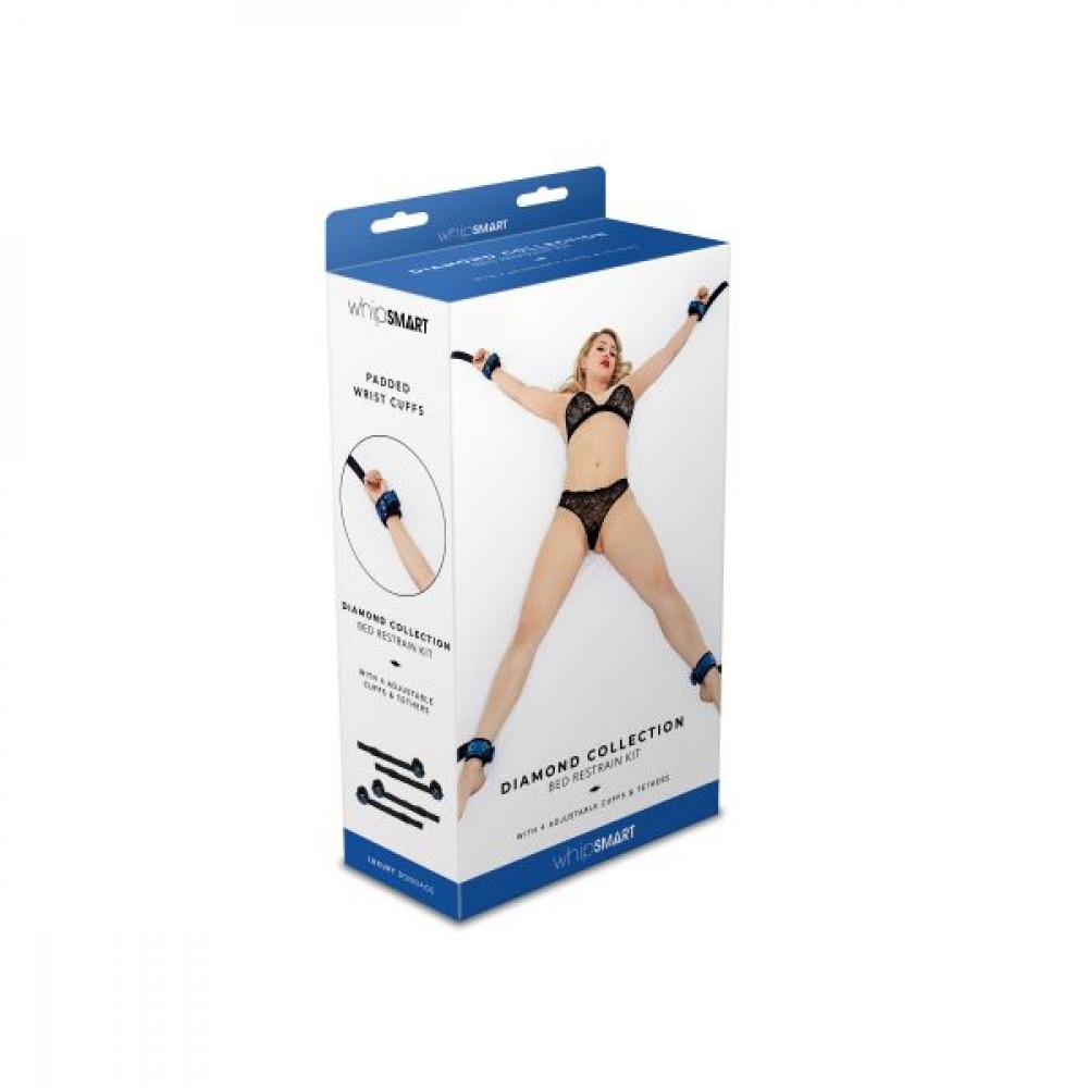 БДСМ наручники - Система для фиксации к кровати WHIPSMART DIAMOND BED RESTRAIN KIT BLUE 1