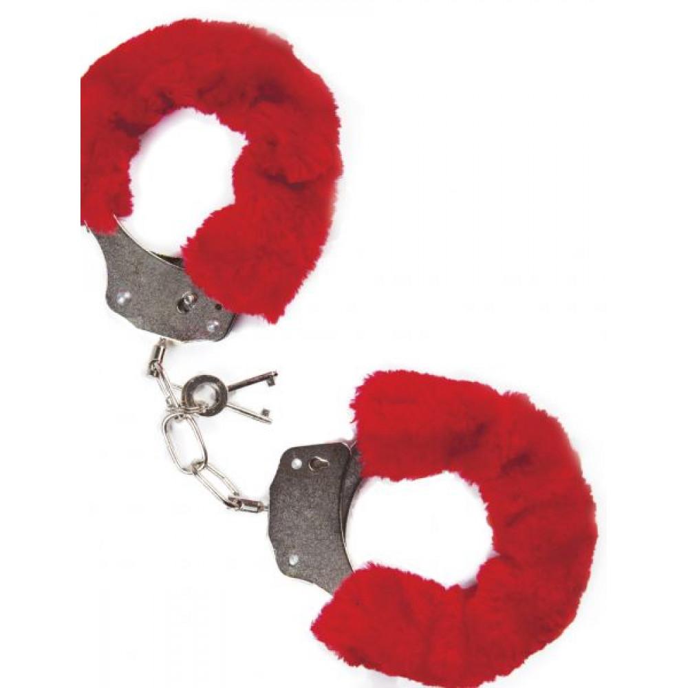 БДСМ наручники - НаручникисмехомMAINo.38METALFURRYHANDCUFFSRED