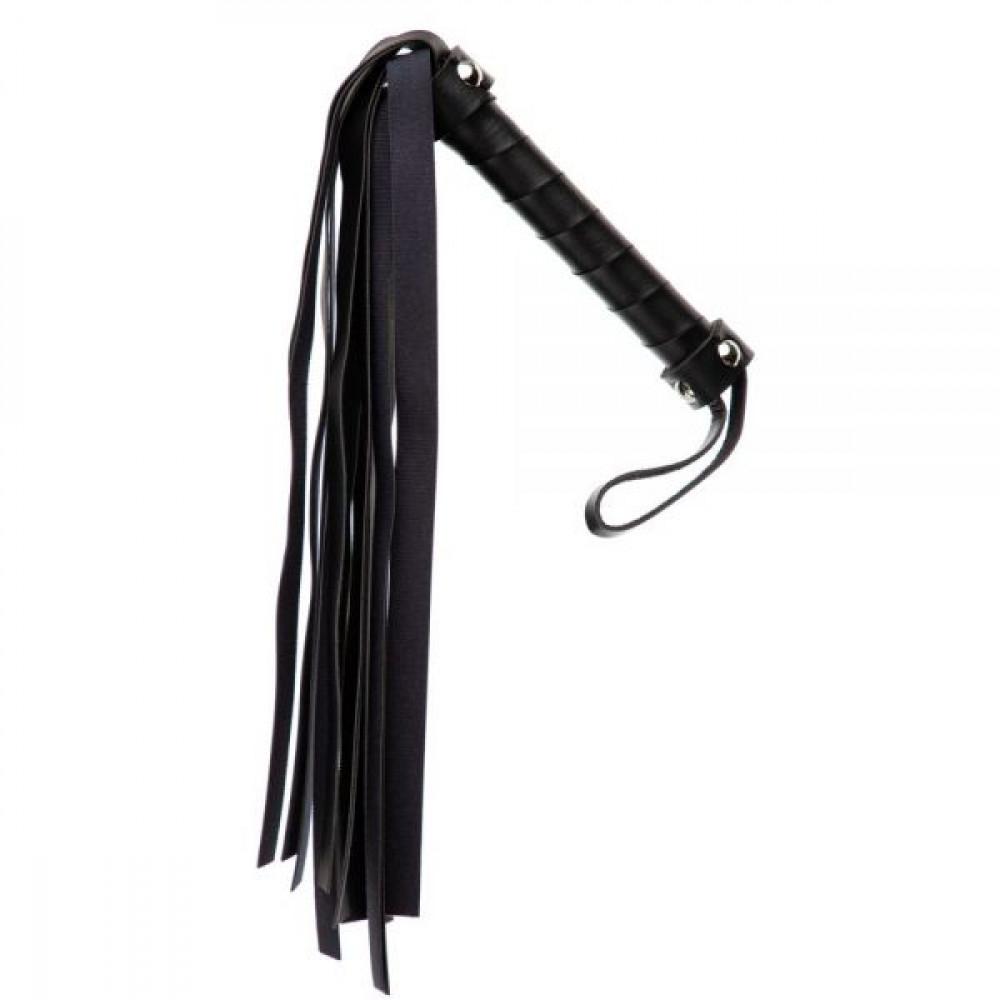 БДСМ плети, шлепалки, метелочки - Плетка из экокожи FLOGGER BLACK