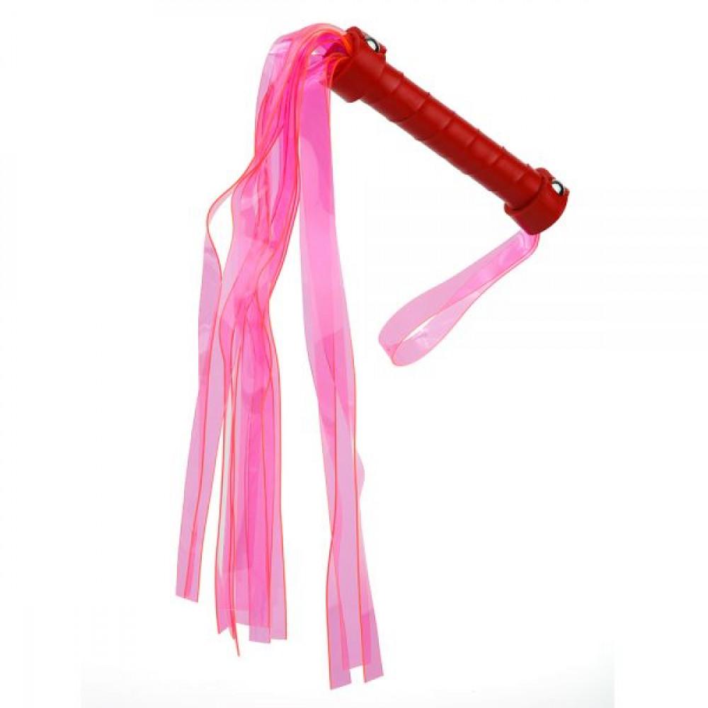 БДСМ плети, шлепалки, метелочки - Плетка из экокожи c неоновыми хвостами FLOGGER PINK/RED