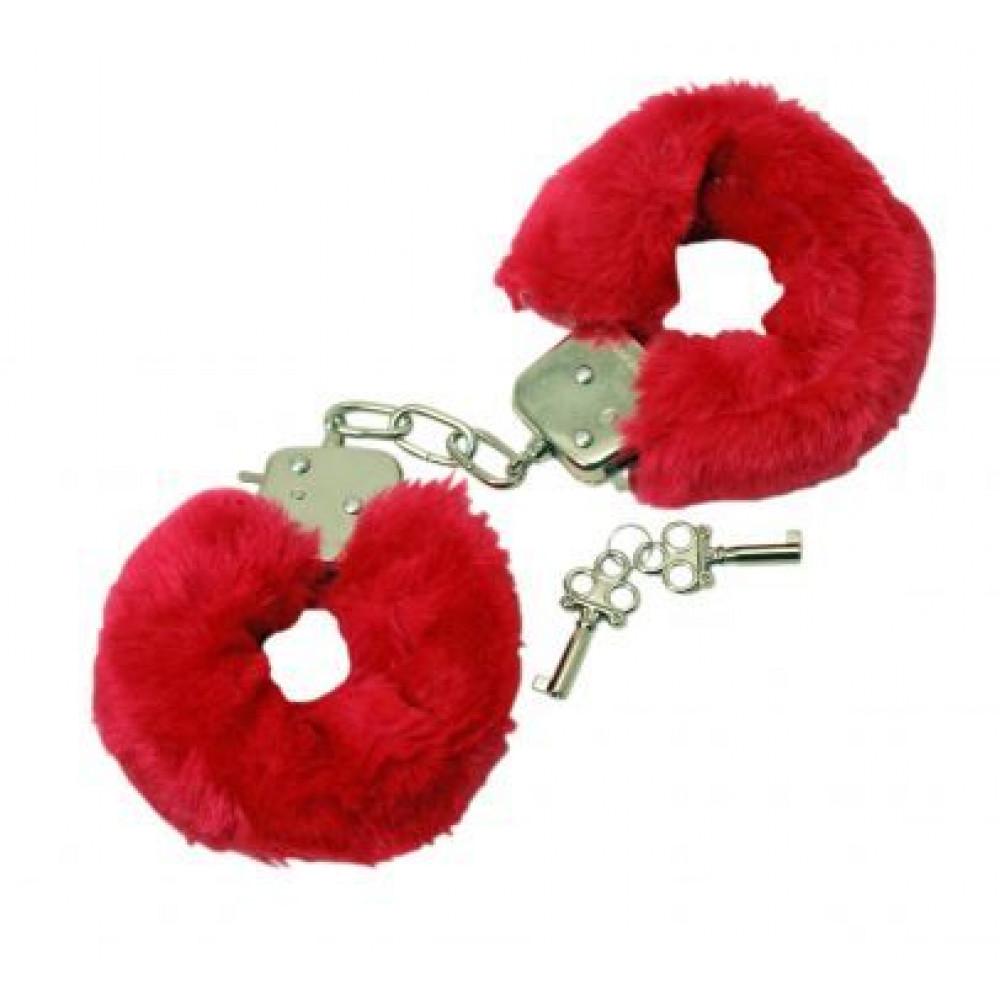 БДСМ наручники - Наручники с мехом Fur Love Cuffs, Red