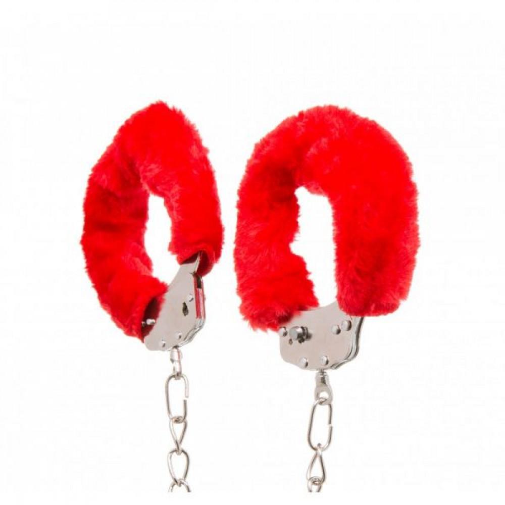 БДСМ наручники - Оковы с мехом Ankle Cuffs, Red 1